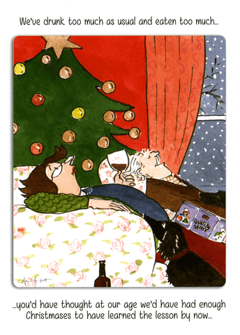 Funny Christmas Cards - Eaten And Drunk Too Much As Usual