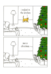 Funny Christmas Cards - Cat - Christmas - Puked In Kitchen