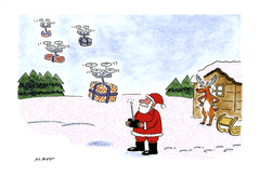 Funny Christmas Cards - Santa Using Drones To Deliver Presents