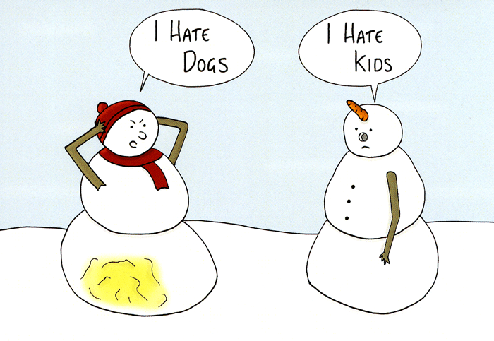 Funny Christmas Picture.Snowmen I Hate Dogs And Kids