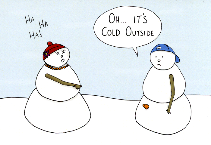 Funny Christmas Cards - Snowman - It's Cold Outside