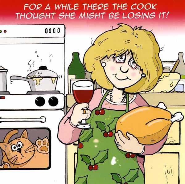 Funny Christmas Cards - Cat In The Oven