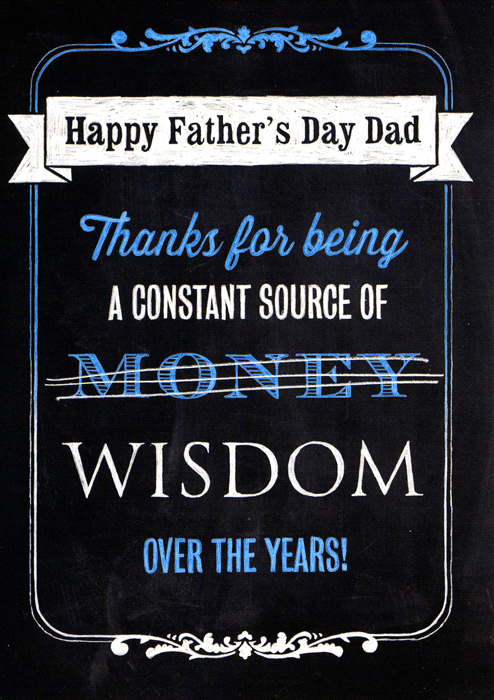 Funny Father's Day Cards - Thanks For Being A Constant Source Of Wisdom (money)