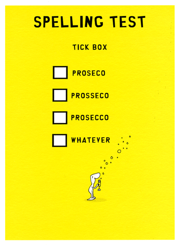 Funny Cards - Prosecco Spelling Test