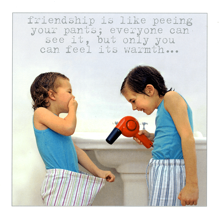 Funny Cards - Friendship Is Like Peeing Your Pants