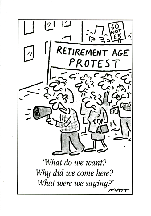 Funny Cards - Retirement Age Protest