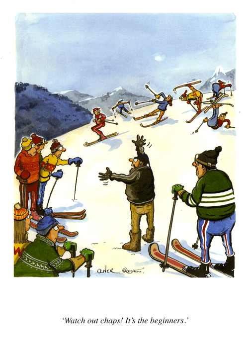 Funny Cards - Skiing: Watch Out Chaps! It's The Beginners