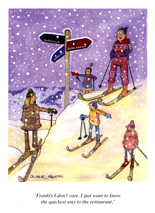 Funny Cards - Skiing - Quickest Way To The Restaurant