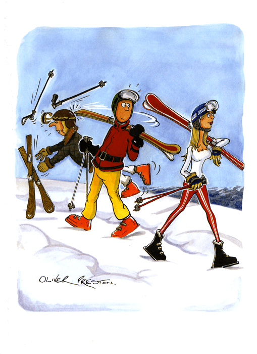 Funny Cards - Skiing - Thwack!
