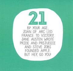 Birthday Card - 21st Birthday - By Your Age