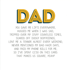 Funny Father's Day Cards - Dad - Spent £2.50 On This Card