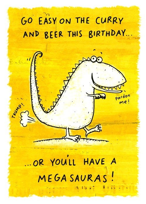 Birthday Card - Easy On The Curry And Beer This Birthday