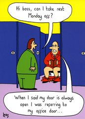 Funny Cards - Boss - My Door Is Always Open