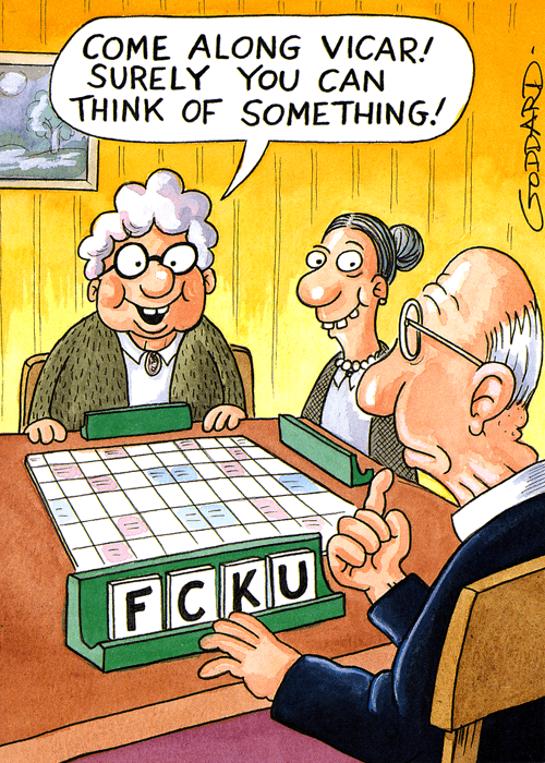 Humorous birthday card - Scrabble - Come along vicar ... Funnygames Scrabble