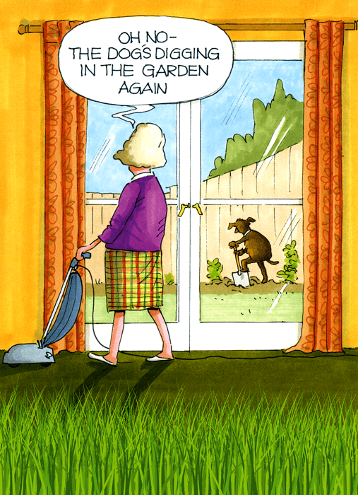 Funny Cards - Dog's Digging In The Garden Again