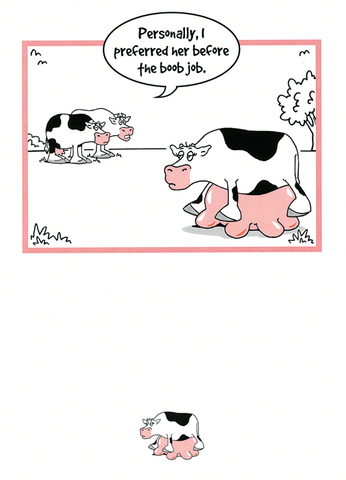 Funny Cards - Cow - Boob Job
