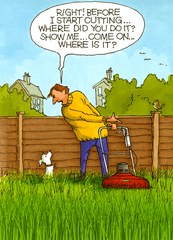 Funny Cards - Dog - Before I Start Cutting The Grass