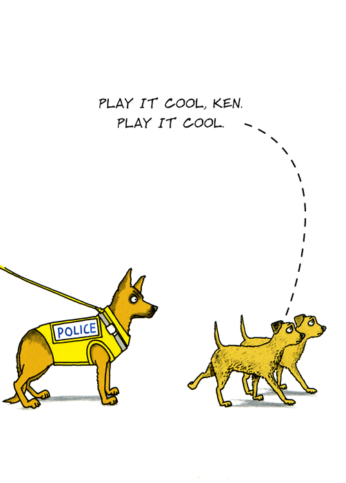 Funny Cards - Police Dog - Play It Cool
