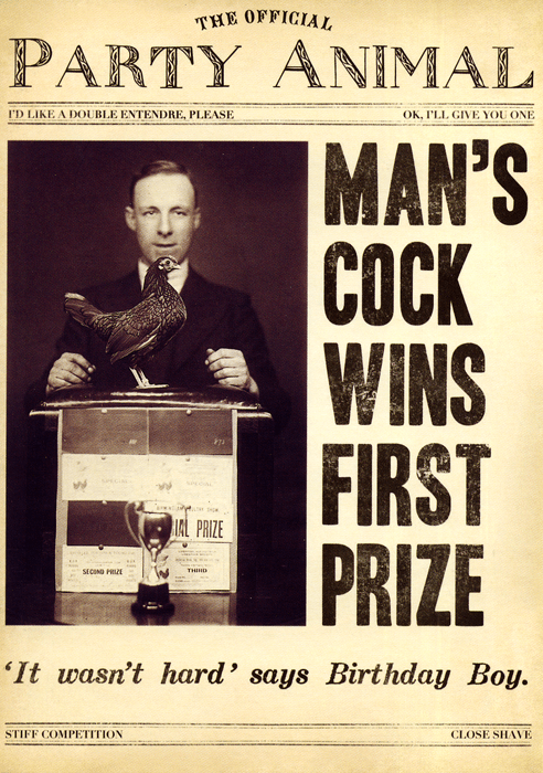 Birthday Card - Man's Cock Wins First Prize
