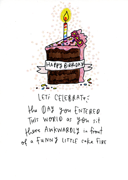 Birthday Card - Funny Little Cake Fire