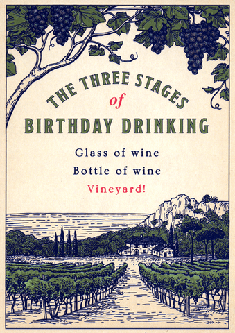 Birthday Card - Three Stages Of Drinking