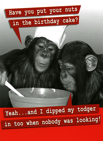 Birthday Card - Nuts In The Birthday Cake