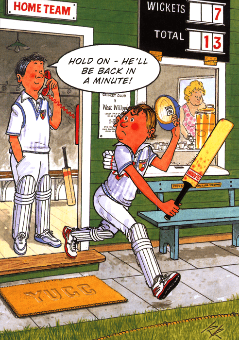 Birthday Card - Cricket - Back In A Minute