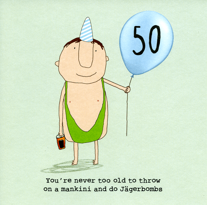 Funny 50th Birthday Card - Mankini And Jagerbombs Comedy Card