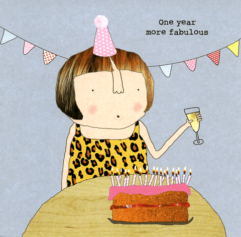 Birthday Card - One Year More Fabulous