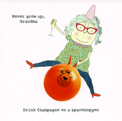 Birthday Card - Grandma - Champagne On A Spacehopper