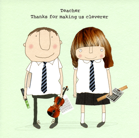 Thank You Card - Teacher - Thanks For Making Us Cleverer