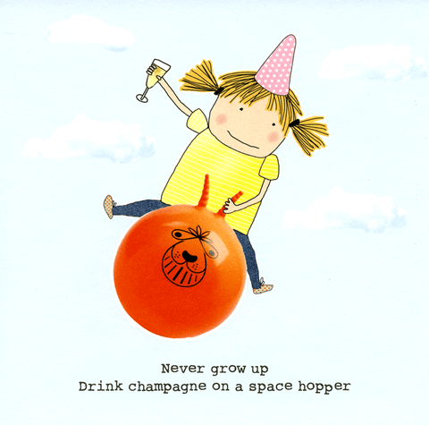 Birthday Card - Drink Champagne On A Space Hopper