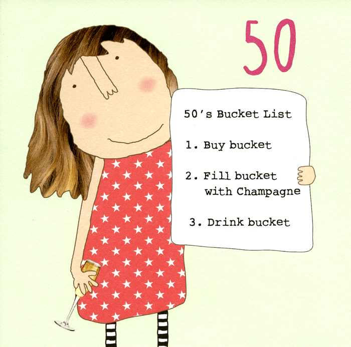 Funny 50th Birthday Card Bucket List Rosie Made A Thing Comedy Card Company