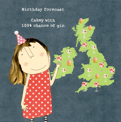 Birthday Card - Birthday Forecast - Cakey With Gin