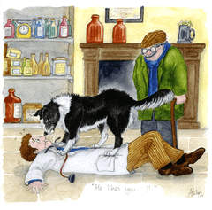 Funny Cards - James Herriot - Dog - He Likes You