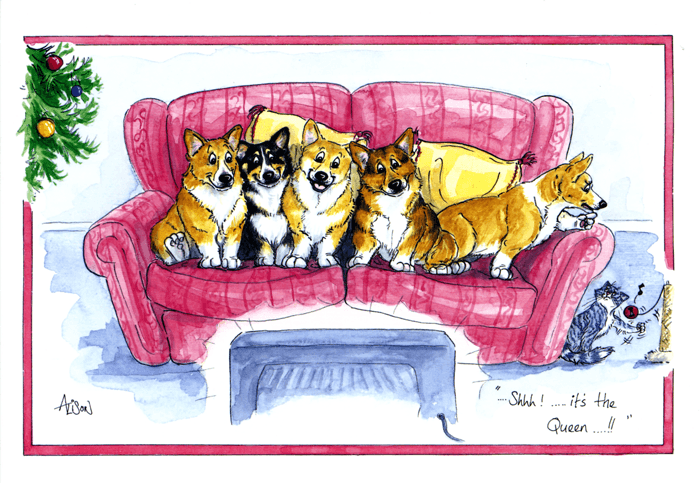 Funny Christmas Cards - Corgis - Shhh - It's The Queen's Speech