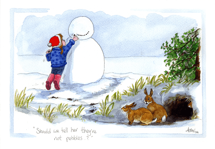 Funny Christmas Cards - Rabbits - Tell Her They're Not Pebbles?