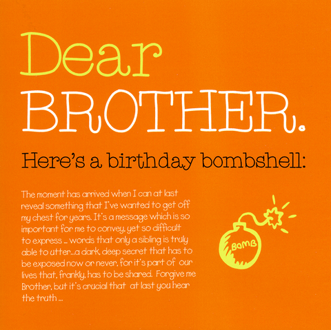 Birthday Card - Brother - Birthday Bombshell
