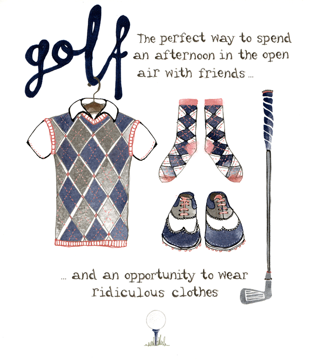 Birthday Card - Golf - Opportunity To Wear Ridiculous Clothes