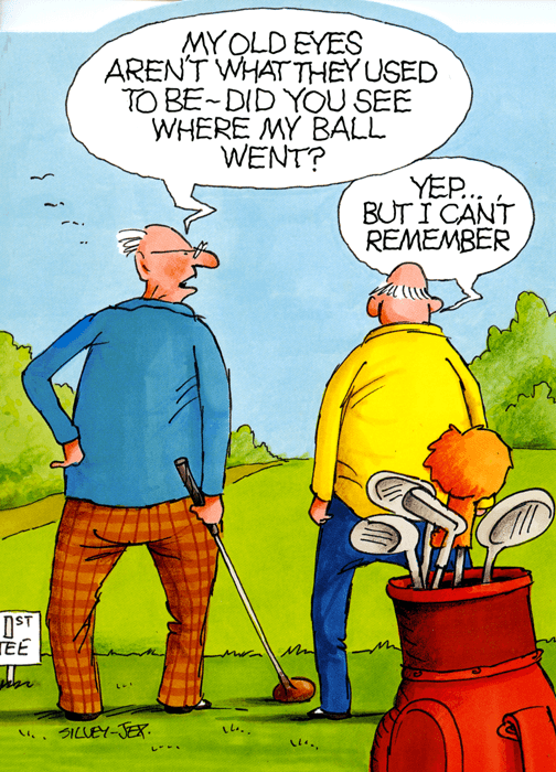 humorous golf card  wrinklies   see where my ball went