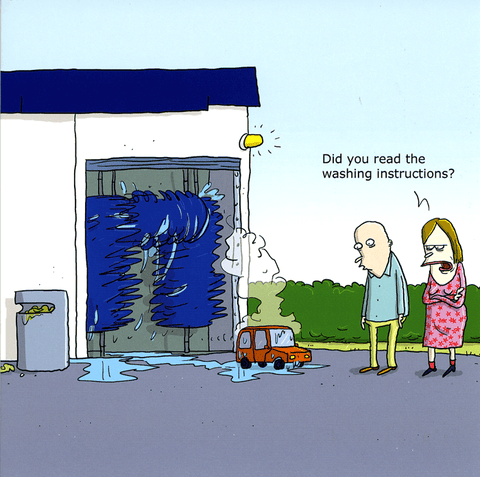 Funny Cards - Car - Read The Washing Instructions