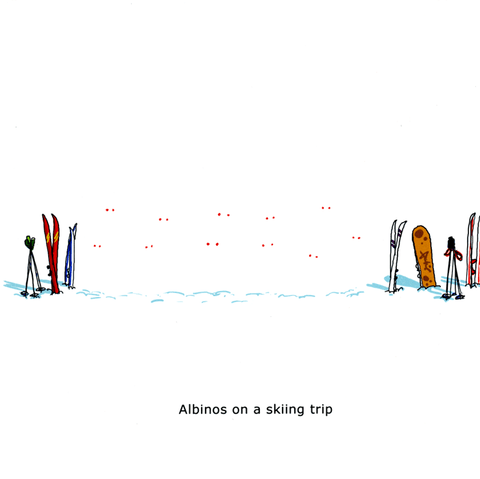 Funny Cards - Albinos On A Skiing Trip