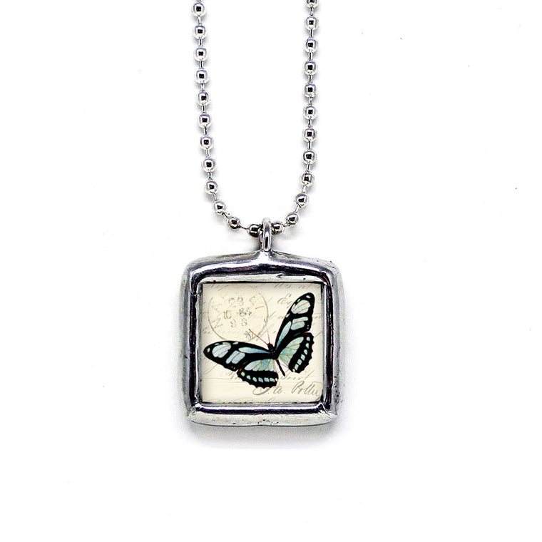 Aqua Butterfly • Choose Message Pendant