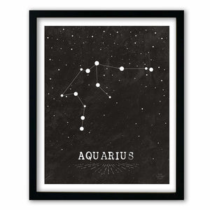 Aquarius • Black & White Zodiac Print