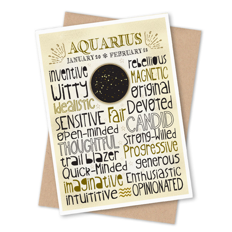 Aquarius Zodiac Blank Greeting Card