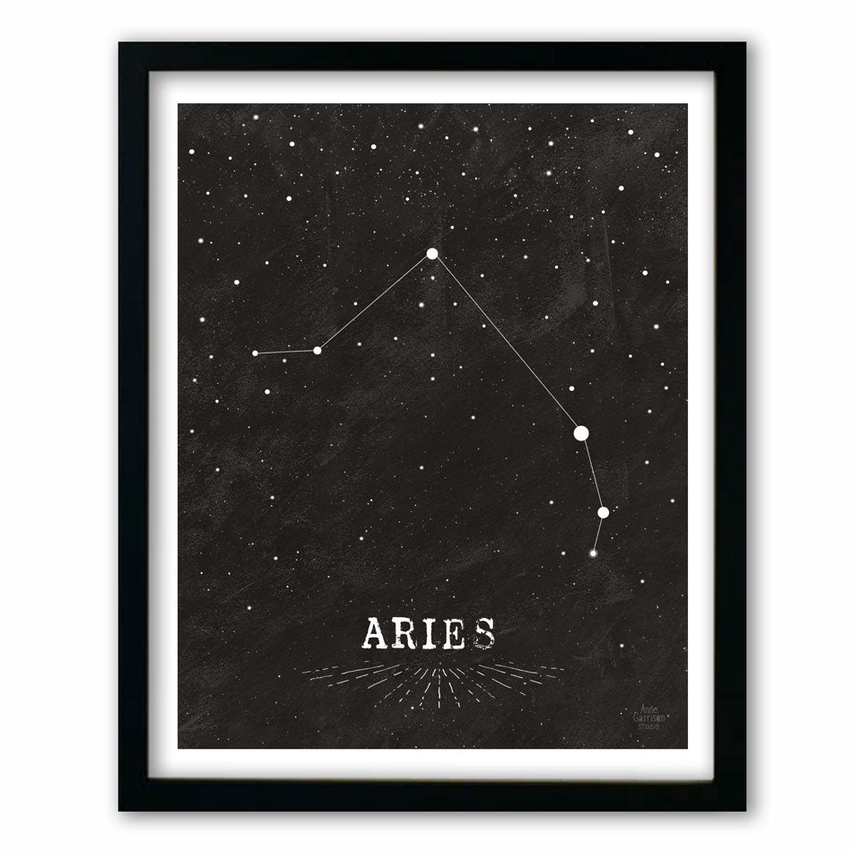 Aries • Black & White Zodiac Print