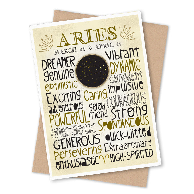 Aries Zodiac Blank Greeting Card