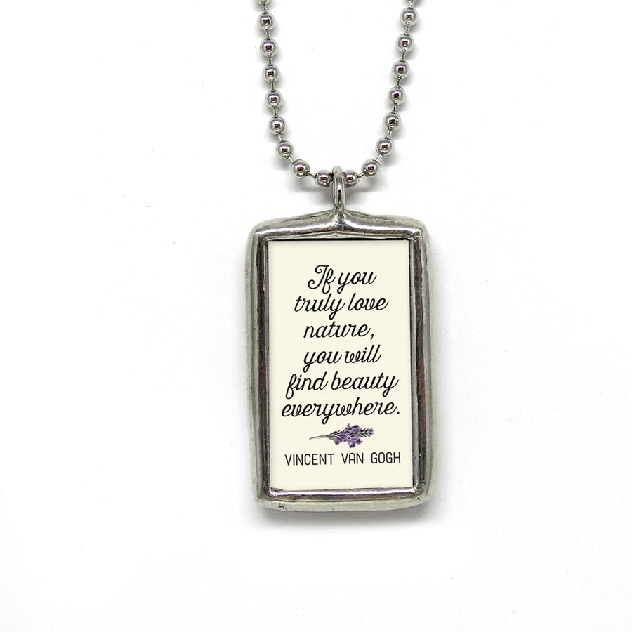 Lavender Botanical Pendant • Beauty Everywhere Quote