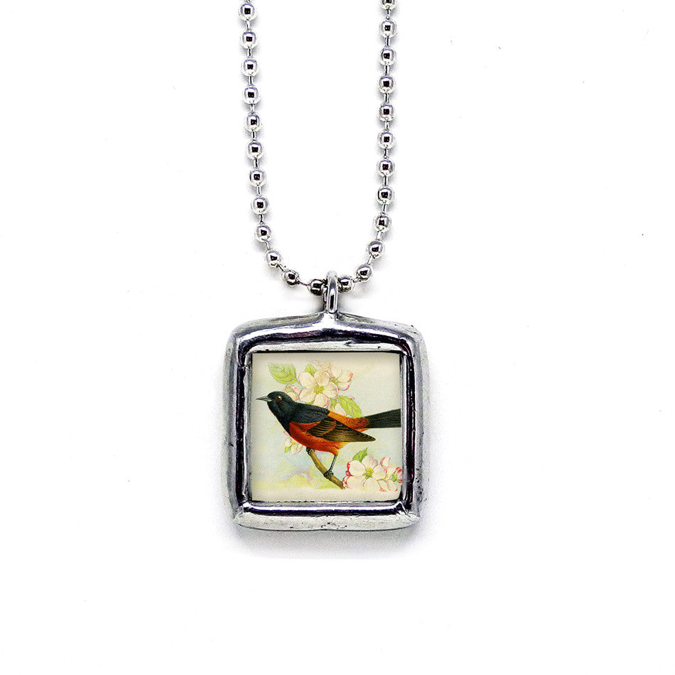 Black & Red Orchard Oriole • Message Choice Pendant
