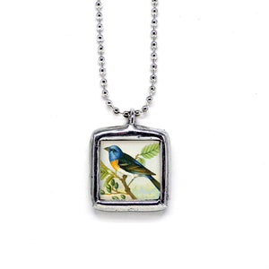 Blue & Gold Bunting Bird • Choose Message Pendant